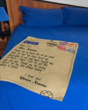"""Personalized Letter to dad from daughter blanket Small Fleece Blanket - 30"""" x 40"""" aos-coral-fleece-blanket-30x40-lifestyle-front-02a"""