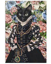 Floral Royal black cat 11x17 Poster front