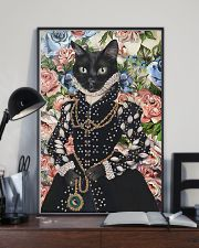 Floral Royal black cat 11x17 Poster lifestyle-poster-2