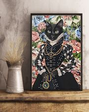 Floral Royal black cat 11x17 Poster lifestyle-poster-3