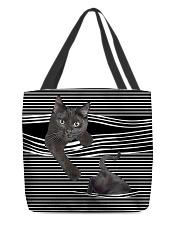 Black cat peeking All-over Tote back