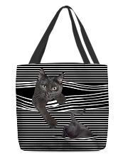 Black cat peeking All-over Tote front