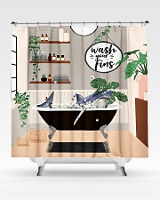 Wash your fins Shower Curtain aos-shower-curtains-71x74-lifestyle-front-02