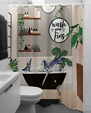 Wash your fins Shower Curtain aos-shower-curtains-71x74-lifestyle-front-04