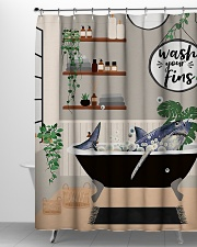 Wash your fins Shower Curtain aos-shower-curtains-71x74-lifestyle-front-06