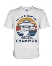 Vintage social distancing champion ufo shirt V-Neck T-Shirt tile