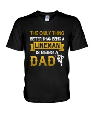 A Lineman and a Dad V-Neck T-Shirt thumbnail