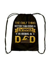 A swimmer and dad Drawstring Bag back