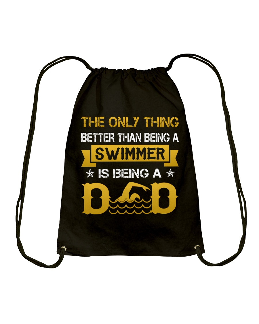 A swimmer and dad Drawstring Bag