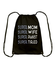 Super Pianist Mom Drawstring Bag thumbnail
