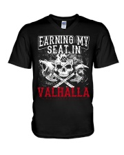 Viking Shirt : Earning My Seat In Valhalla V-Neck T-Shirt thumbnail