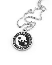 Viking Necklace - Yin Yang Wolf And Rune Metallic Circle Necklace aos-necklace-circle-metallic-lifestyle-05