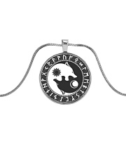 Viking Necklace - Yin Yang Wolf And Rune Metallic Circle Necklace front