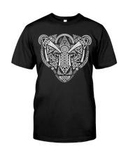 Viking Wolf Art With Norse Pattern - Viking Shirt Classic T-Shirt front