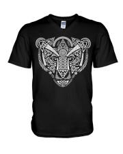 Viking Wolf Art With Norse Pattern - Viking Shirt V-Neck T-Shirt thumbnail