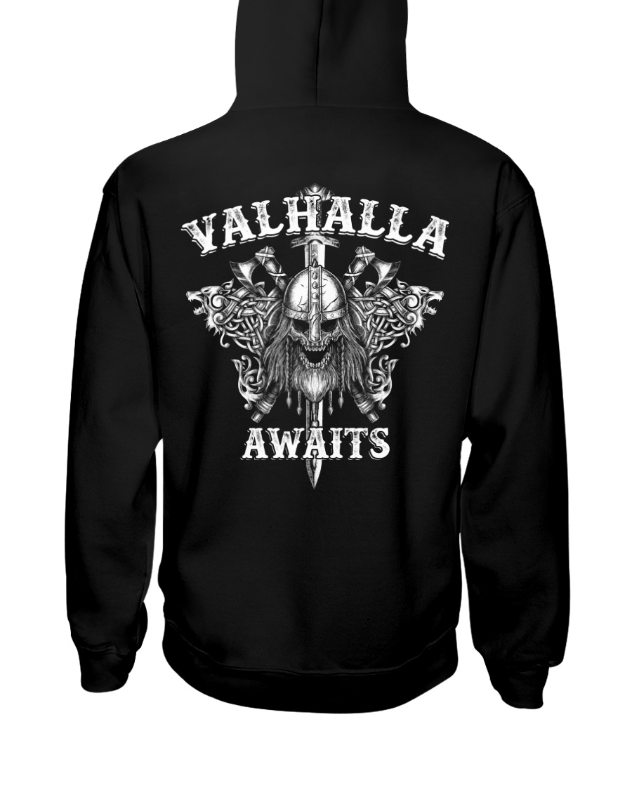 Viking Shirt : Valhalla Awaits Viking Hooded Sweatshirt