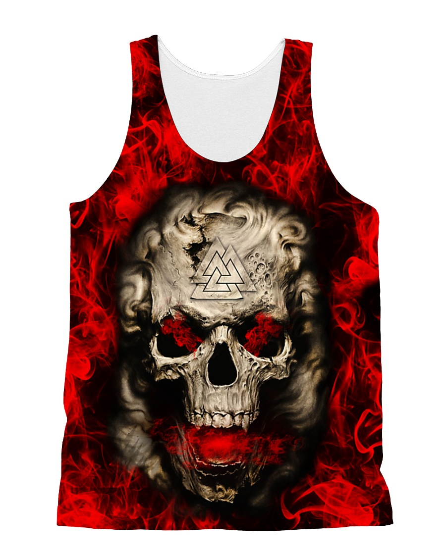 Viking Over Print - Skull And Fire All-over Unisex Tank