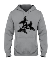 Odin's Horn - Triple horn - Horned Triskele Raven Hooded Sweatshirt thumbnail