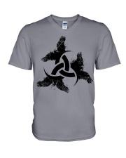 Odin's Horn - Triple horn - Horned Triskele Raven V-Neck T-Shirt tile