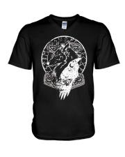 Raven Hammer Wolf Vegvisir - Viking Shirt V-Neck T-Shirt thumbnail