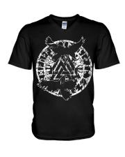 Viking Shirt - Raven Vegvisir Rune V-Neck T-Shirt thumbnail