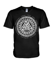Viking Valknut Mean - Viking Shirts V-Neck T-Shirt thumbnail