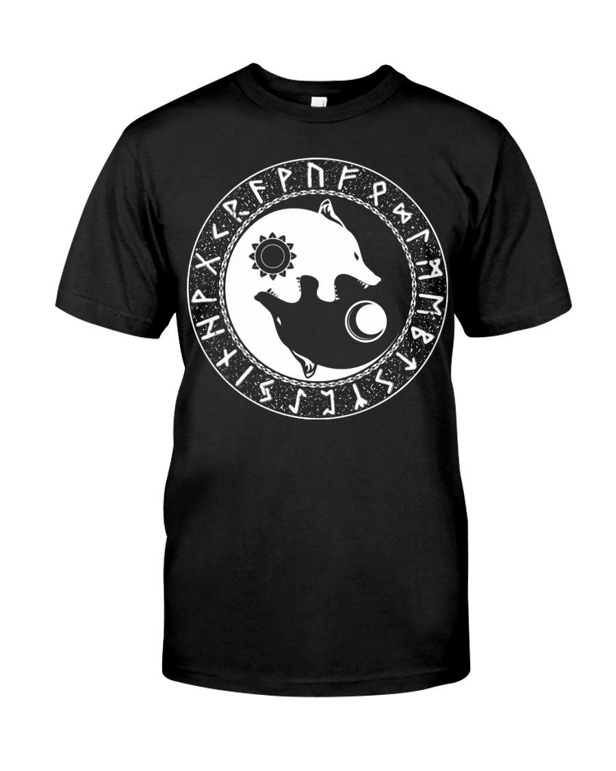 Viking Shirt : Viking Wolf Yin Yang And Rune Classic T-Shirt
