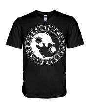 Viking Shirt : Viking Wolf Yin Yang And Rune V-Neck T-Shirt thumbnail