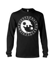 Viking Shirt : Viking Wolf Yin Yang And Rune Long Sleeve Tee thumbnail