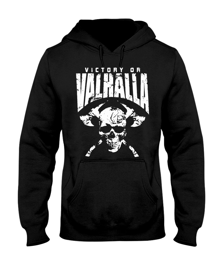 Viking Shirt : Viking Tee : Victory Or Valhalla Hooded Sweatshirt