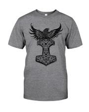 Viking Shirt : Raven And Viking Hammer Classic T-Shirt front