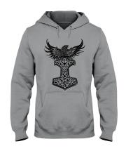 Viking Shirt : Raven And Viking Hammer Hooded Sweatshirt thumbnail