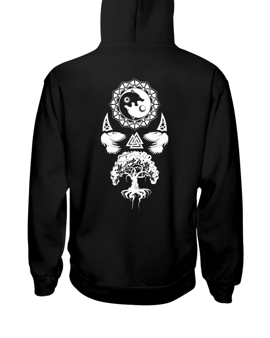 Viking Shirt : Wolf Raven Yggdrasil Hooded Sweatshirt