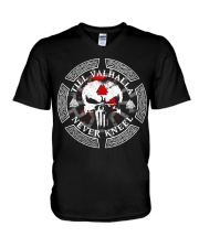 Viking Shirt - Till Valhalla Never Kneel V-Neck T-Shirt thumbnail