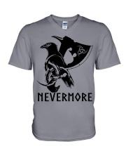 Viking Shirt - Nevermore Raven Viking Axe V-Neck T-Shirt thumbnail