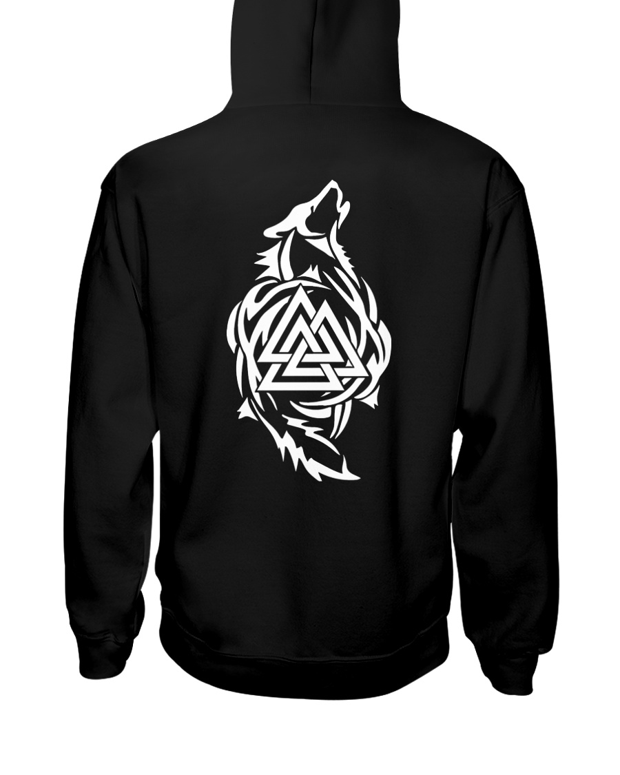 Viking Shirt - Viking Wolf And Valknut Hooded Sweatshirt