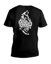 Viking Shirt - Viking Wolf And Valknut V-Neck T-Shirt thumbnail