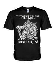 Viking Shirt : Where The Brave May Live Forever V-Neck T-Shirt tile