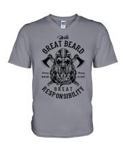 Viking Shirt : Great Beard - Great Responsibility V-Neck T-Shirt thumbnail