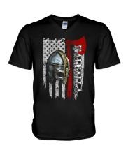 Flag Helmet Valhalla - Viking shirt V-Neck T-Shirt thumbnail