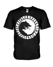 Yin Yang Wolf Viking - Viking Shirts V-Neck T-Shirt thumbnail