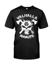 Viking Shirt : Valhalla Awaits Valknut Classic T-Shirt front