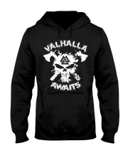 Viking Shirt : Valhalla Awaits Valknut Hooded Sweatshirt thumbnail
