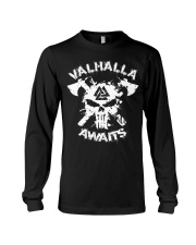Viking Shirt : Valhalla Awaits Valknut Long Sleeve Tee thumbnail