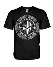 Till Valhalla Never Kneel - Viking Shirt V-Neck T-Shirt thumbnail