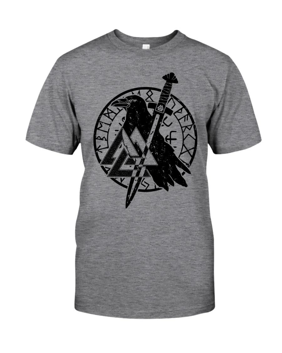 Viking Shirts : Raven Viking Vegvisir Classic T-Shirt
