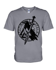 Viking Shirts : Raven Viking Vegvisir V-Neck T-Shirt tile