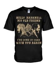 HELLO DARKNESS MY OLD FRIEND - VIKING T-SHIRTS V-Neck T-Shirt thumbnail