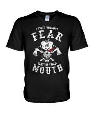 I EXIST WITHOUT FEAR - VIKING T-SHIRTS V-Neck T-Shirt thumbnail