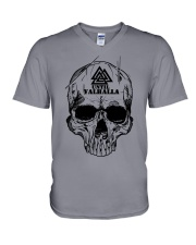 Viking T-shirt - Until Valhall - Skull Valknut V-Neck T-Shirt thumbnail
